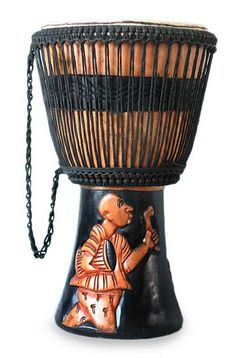 Ghana's legendary music traditions inspire Robert K. Ghartey, a drum player himself. He crafts an extraordinary djembe drum depicting a man playing the xylophone and another the donno #drum.