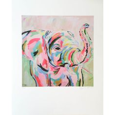 Who doesn't want this fancy elephant hanging on her walls? We do! We love how artist, Megan Carns, brilliantly uses bold and vibrant colors in this fun print. T