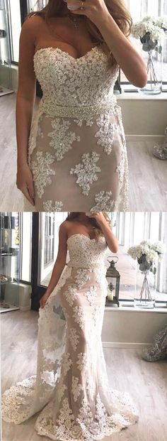 elegant sweetheart mermaid prom dresses, unique white prom dresses with beading, fashion wedding party dresses with appliques