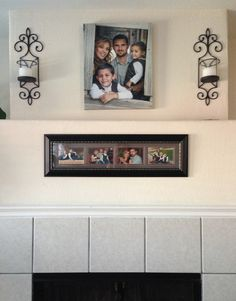 Above Fireplace Wall Layout. Family Portrait Is A 16x20 Canvas. Long  Picture Frame Has