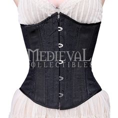 d474272ef13 Black Floral Brocade Underbust Corset - by Medieval Collectibles