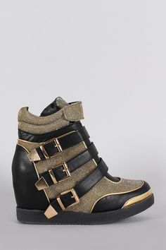 Glitter Strappy Buckle Round Toe High Top Wedge Sneaker