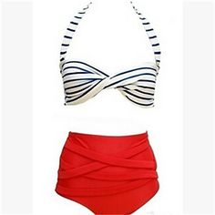 retro high waisted red white and blue swimsuit