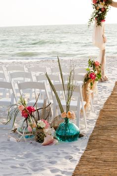 Turquoise and Pink themed Florida Beach Wedding