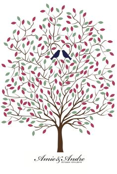 Birds in a tree: each guest signs a leaf, then leaves are arranged on the digital print from Etsy.