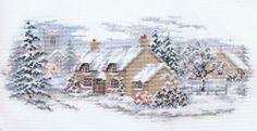 Holly Lane Cross Stitch Kit - Winter Cottage Scene - Derwentwater Designs