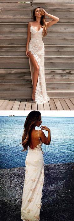 Sheath/Column Floor Length Sweetheart Spaghetti Backless Side Slit Appliques Evening/Prom Dress