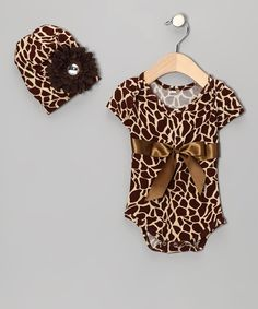 Brown Giraffe Bodysuit & Beanie - Infant | Daily deals for moms, babies and kids
