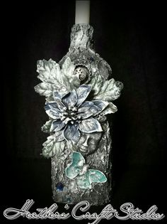 Mixed Media Art - Altered Bottle by Heather's Craft Studio