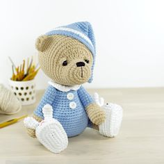 Sleepy Teddy Toy in Pajamas and Bunny Slippers - download the crochet pattern from LoveCrochet today!