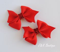 hair bows ribbon girl accessories clip double forest green red large classic bow