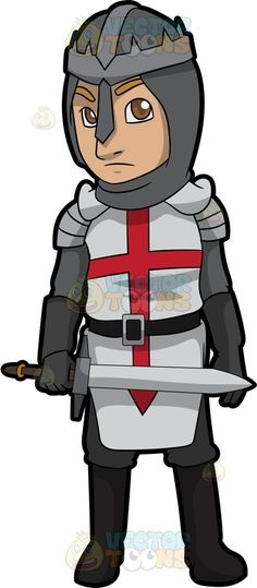 An English Knight : A knight with brown eyes wearing an open faced gray helmet steel gray armor with white and red cross surcoat black belt and boots frowns while holding a steel sword in his right hand The post An English Knight appeared first on VectorToons.com.