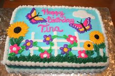 Spring Is Here This cake has a Spring theme. The flowers and butterfly are made from color flow icing. The rest is buttercream Sheet Cake Designs, Simple Cake Designs, Butterfly Birthday Party, Mom Birthday, Birthday Ideas, Birthday Parties, Dairy Queen Cake, Spring Cake, Spring Theme