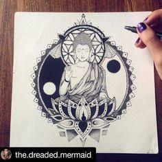 Buddha by @Matty.dreaded.mermaid I started this almost 3 months ago and I lost… Neue Tattoos, Body Art Tattoos, Tattoo Drawings, Sleeve Tattoos, Hindu Tattoos, Symbol Tattoos, Geisha Tattoos, Buddha Tattoos, Geniale Tattoos