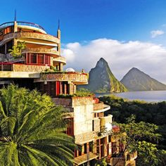 Soufriere, St. Lucia; Jade Mountain at Anse Chastenet Resort, where each suite has a view of the Pitons.