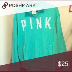 PINK sweatshirt from Victoria's Secret Green Victoria's Secret PINK quarter zip sweatshirt with white writing PINK Victoria's Secret Jackets & Coats