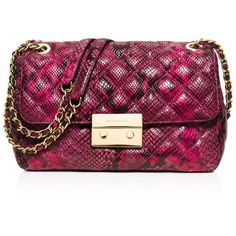 Michael Michael Kors Large Sloan Quilted Embossed Python Shoulder Bag (3.364.115 IDR) ❤ liked on Polyvore featuring bags, handbags, shoulder bags, fuchsia, quilted leather handbags, leather purse, purple leather purse, genuine leather shoulder bag and leather handbags