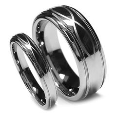 Matching Wedding Band Set Tungsten Rings Infinity Design, Chrome Finish 8MM&6MM