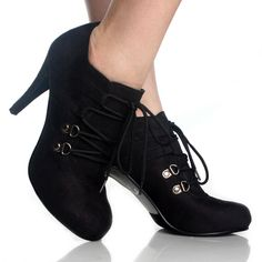 images of womens' boots/booties | Lace Up Ankle Booties Black High Heels Steam Punk Womens Dress Shoes