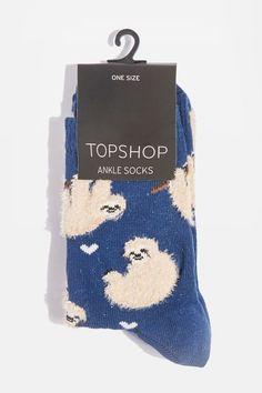 Fluffy sloth ankle socks