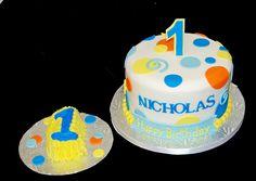 First birthday polka dots cake