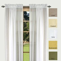 """Lucerne 96-inch Sheer Curtain Panels (Set of 2) $46 for 2 52"""" panels Polyester Linen"""