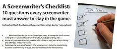 A Screenwriter's Checklist: How's the year going so far with successes and failures? https://scriptcat.wordpress.com/2015/06/30/the-midyear-screenwriters-checklist-keeping-an-eye-on-the-big-picture-of-your-career/