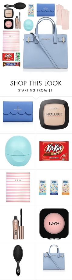 """""""What's In My Bag? #2"""" by paula008 on Polyvore featuring Kate Spade, L'Oréal Paris, River Island, Eccolo, Benefit, NYX, The Wet Brush, Kurt Geiger, C by Bloomingdale's and women's clothing"""
