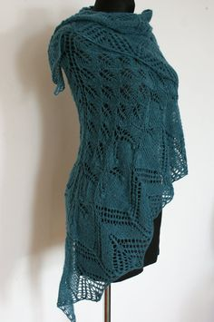Turquoise Hand Knitted Lace Shawl Triangular by AnazieArtDesign