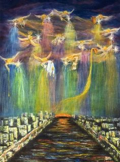"""""""Gathering of Angels"""" Oil on Canvas. Angels are shown bringing blessings from above and pouring them out on a city prepared for revival. Each angel has a different anointing and gift to bring, ranging from healing, music, justice, etc. By Connie Baten Angel Clouds, Angel Guide, I Believe In Angels, Prophetic Art, Angels Among Us, Angels In Heaven, Guardian Angels, Spiritual Warfare, Angel Art"""