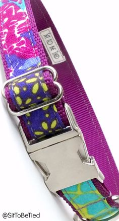 Bright dog collar for girls in purples and fun colors. Unique Boho look for female dogs
