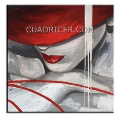 Cuadro figura mujer sombrero rojo 1020