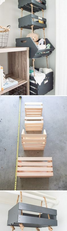 Check out the tutorial how to make DIY hanging closet crate shelves Industry Standard Design