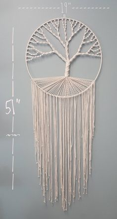 Macrame Tree of Life Wall Hanging Makramee Baum des Lebens Wandbehang Macrame Design, Macrame Art, Macrame Projects, Macrame Knots, Etsy Macrame, Macrame Mirror, Macrame Curtain, Macrame Wall Hanging Patterns, Macrame Patterns