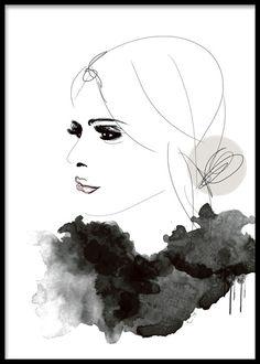 Fashion poster i grå toner med kvinna i profil.