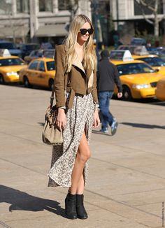 love the long skirt, jacket and alexander Wang purse