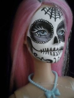 Day of the Dead Barbie pink and black by SenoraBlanca on Etsy, $26.00