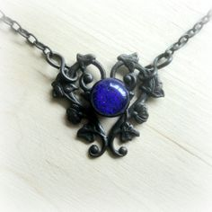 Gothic Necklace Goth Choker Black Victorian Jewelry Fused Glass Art Flower Filigree Fall Fashion