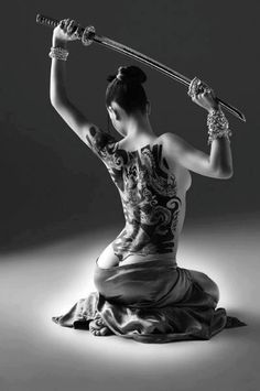 ..woman tattoo,  samurai woman