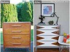 Image result for refurbishing dresser black and white stripes