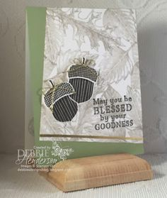 Stampin' Up! Acorny Thank You, Vintage Leaves & Me=Grateful for the Control Freaks October Blog Hop. Debbie Henderson, Debbie's Designs.