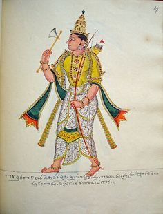 Opaque watercolour painting of Visnu's sixth incarnation as Paraśurāma, (Rāma with the axe). The god, in pratyalidha, carries a parashu (axe) in his right hand and a bow in his left. A filled quiver is slung over his shoulder.