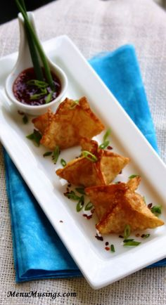 Crab Rangoons There is an alternative recipe for Southwestern Chicken Rangoons.  Step-by-step photo tutorial included.