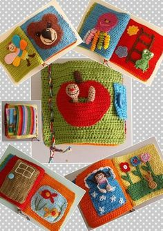 Baby Knitting Patterns Toys Häkle now a feel and play book / adventure book for your baby / toddler …. Crochet Game, Crochet Baby Toys, Crochet Amigurumi, Crochet Books, Crochet Gifts, Crochet For Kids, Crochet Children, Boy Crochet, Knitting Patterns Boys