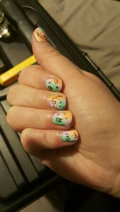 Messy Easter Hello Kitty Nails