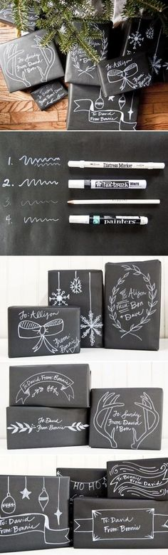 DIY Christmas Chalkboard Gift Packaging: Use for gifts we send home in December (Black butcher paper and white crayons) Noel Christmas, All Things Christmas, Christmas Ideas, White Christmas, Holiday Fun, Holiday Crafts, Holiday Ideas, Christmas Chalkboard, Diy Chalkboard