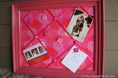 DIY Memo & Bulletin board made from an old frame, fabric, ribbon and foam board!