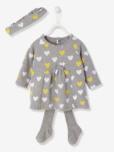 Baby-Kleid, Strumpfhose und Haarband - GRAU MELIERT GETUPFT - 1