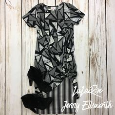 LuLaRoe Carly Dress with a Cassie Skirt and Paul Green booties. Shop LuLaRoe at www.facebook.com/groups/LuLaRoeJenny/