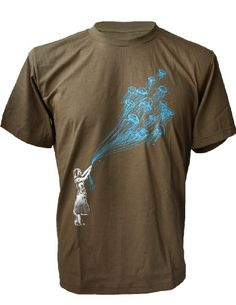 393627d5cf0 SODAtees banksy Jelly Fish underwater balloon Men s T-SHIRT graphic tee -  Khaki - Large  unique Graphic Design T-Shirt -- Brand New never worn --  high ...
